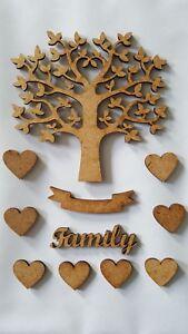 Arbre Family en bois MDF,décoration arbre + 8 cœurs + Family + bannière