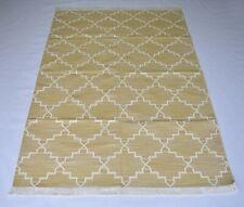 Handmade Grid Cotton Kilim Area Rug Bedroom Carpet 4x6 Feet DN-1493