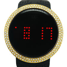Techno Pave Iced Out Gold on Black Digital Touch Screen Sports Smart Watch with