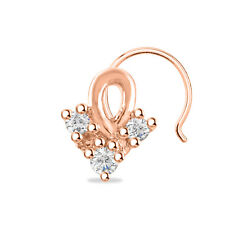 925 Sterling Silver Women'S Nose Pin Fashion Three Stone 14K Rose Gold Finish