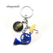 How I Met Your Mother Blue French Horn Glass dome umbrella Art Pendant keychain