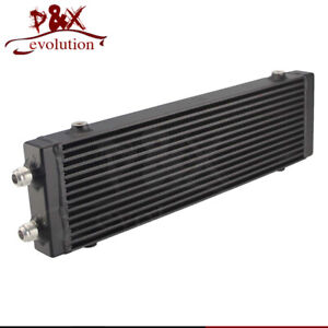 "Universal Dual Pass Bar & Plate Oil Cooler 18.5""x5.5""x1.58"" Core Large -Black"