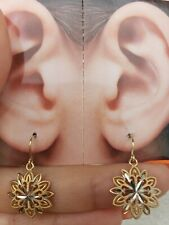 14k yellow white flower drop dangling earrings 1 inch long