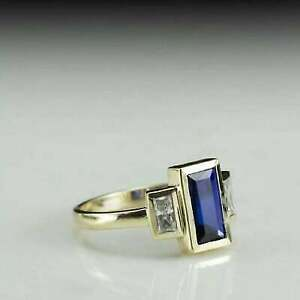 2Ct Baguette Cut Blue Sapphire Solitaire Engagement Ring 14K Yellow Gold Finish