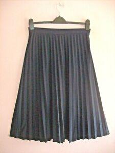 M&S 16 Navy Blue Stretch Jersey Elasticated Sunray Pleat Calf Length Skirt NEW
