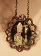 Striking Festooned Brasstone Green Accented Pope Benedict XVI  Necklace Brooch