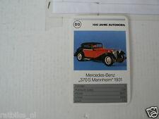 52-MERCEDES 100 JAHRE D3 MERCEDES-BENZ 370S MANNHEIM 1931 KWARTET KAART,CARD