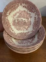 Set of 6 Churchill Red Pink Rosa WILLOW Coup Cereal Bowls Made in England