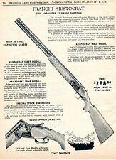1960 Print Ad of Franchi Aristocrat Field, Skeet, Trap Model Over Under Shotgun