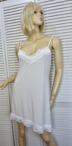 NWT $59 Josie Natori Short Nightgown X-LARGE White w Lace Stretchy Modal BRIDAL