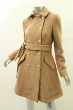 DKNY Camel Double Breasted Belted Wool Blend Coat 0