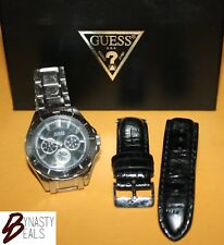 GUESS WaterPro men's watch 100m WR interchangeable bands stainless steel/leather