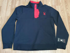 Men's Spyder Quilted Button Pullover Fleece Sweater Ski Black Red $149 MSRP L