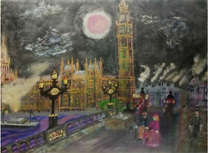 Poster. Big Ben, London, Antique, original artwork, oil painting, Victorian.