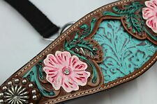 NEW ADJUSTABLE HORSE SIZE BRONC NOSEBAND HORSE HALTER PAINTED FILIGREE/FLOWERS