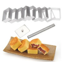 10pc Metal Rectangle Pineapple Cake Pie Biscuit Cutter Bread Mold W/ Press Stamp