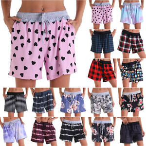 Women Drawstring Loose Shorts Casual Floral Yoga Pants Lady Holiday Beach Shorts