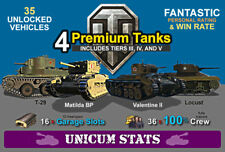[NA] World of Tanks Starter Account | 4 Prem Tanks | Unicum Stats | Garage Slots
