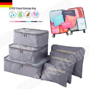 DE Packwürfel 6-teiliges Set Reisetasche Unterwäsche Kosmetik Kofferorganizer