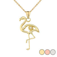 Solid Gold Diamond Flamingo Pendant Necklace In ( Yellow/White/Rose )