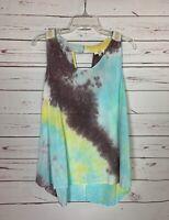 Kori America Boutique Women's S Small Aqua Yellow Tie Dye Spring Summer Top Tank