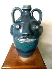 master potter randy tobias face jug,pottery,  ( folk art  11''x7'')