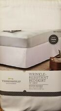 "Threshold Wrinkle Resist Bedskirt 15"" Drop Washable White Z Twin Bed Target New"