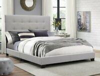 Full Size Platform Bed Frame w/Tufted Headboard Gray Upholstered Bed Wood Frame