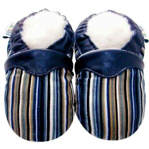 Soft Sole Leather & Corduroy Baby Shoes Infant Toddler Kid Gift StripeNavy 6-12M