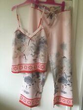 Ted Baker Pale Pink Lake Of Dreams Print Satin Cami&Trousers  Pyjamas Sz 10