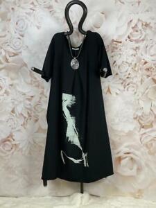 LUUKAA A-Linie Kleid mit Art-Print und Seitentaschen Schwarz Gr. 6 (514)