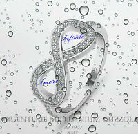 ANELLO INFINITO ARGENTO 925 INFINITE LOVE INFINITY RING ROD ORO BIANCO BRILLANTI