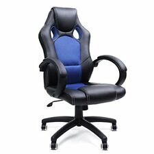Silla de escritorio computadora Songmics Racing Ergonómica regulable. negro - azul