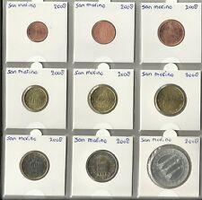 SAN MARINO 2008 - COMPLETE SERIE - 1 cent tot en met 2 euromunt + de € 5,=.