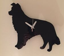 Border Collie Wall Clock In Black