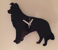 Handmade Border Collie Wall Clock In Black