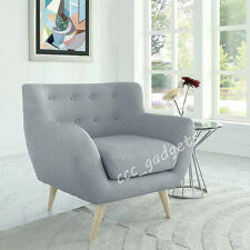 Grey Easy Linen Fabric Retro Button Back Accent Armchair Tub Chair Living  Room