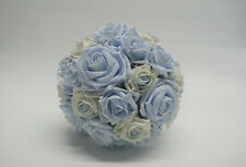 Bridal Wedding Bouquet with Baby Blue and Ivory Roses with Pearls and Diamante