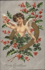 Christmas - Angel Chil Champagne & Horseshoe Border c1910 Postcard