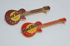 "Hard Rock Cafe Pins -  Vintage HRC Jakarta classic  ""Red & Maroon Guitar"" set"