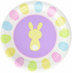 """Cottontails Pastel Bunny Rabbit Easter Holiday Party 7"""" Paper Dessert Plates"""