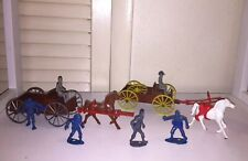 Vintage 1960's Mpc Western Cowboy Toy Soldier Covered Wagon Cart w Cowboys