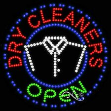 "New ""Open Dry Cleaners"" 26x26x1 Solid/Animated Led Sign w/Custom Options 21140"