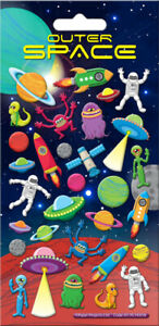 Outer Space Puffy Stickers - Aliens Rockets Planets Spacemen - REUSABLE!