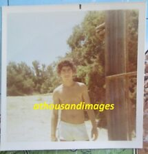1971 Real Photo/Sexy Shirtless Curly Hair Man In Short Surfer Shorts T101