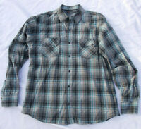 Projek Raw Sz L Large Men's Teal Gray Beige Plaid Pearl Snap Long Sleeve Shirt