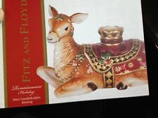 NEW FITZ AND FLOYD RENAISSANCE HOLIDAY DEER CANDLE HOLDER RESTING FREE SHIPPING