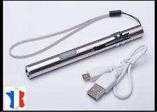Lampe Torche puissante à LED rechargeable USB format de Poches corps Aluminium