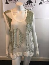 IRO 101017 WHITE SHEER SILK W/ SILVER SEQUIN BLOUSE SIZE 34