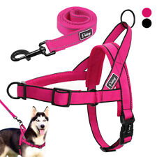 Reflective Medium Large Dogs Harness and Leash Nylon No Pull Front Leading Vest